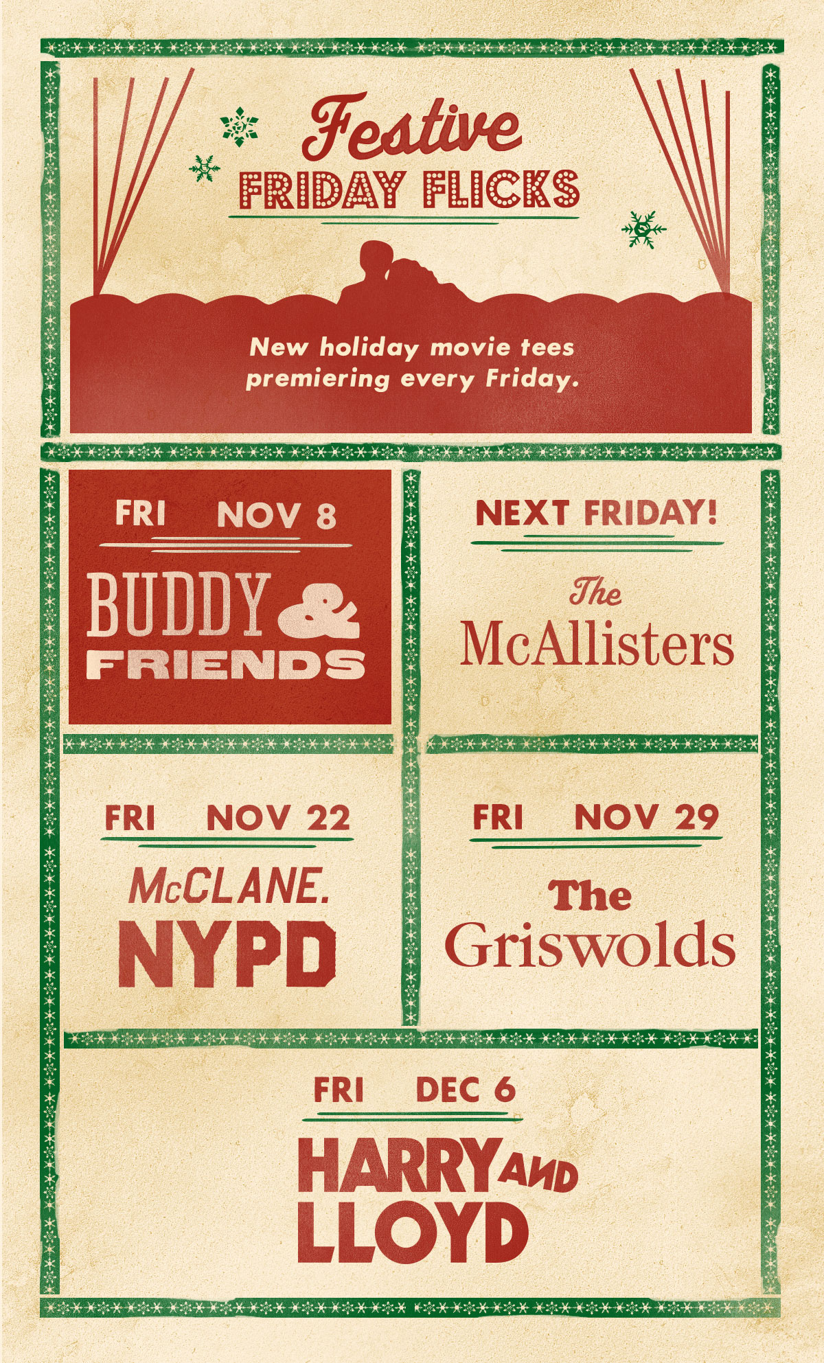 Festive Friday Flicks are released every Friday thru December 6th!