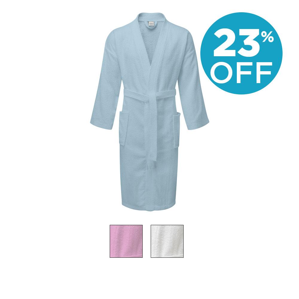Value Range Terry Towelling Kimono Bathrobe - 100% Cotton