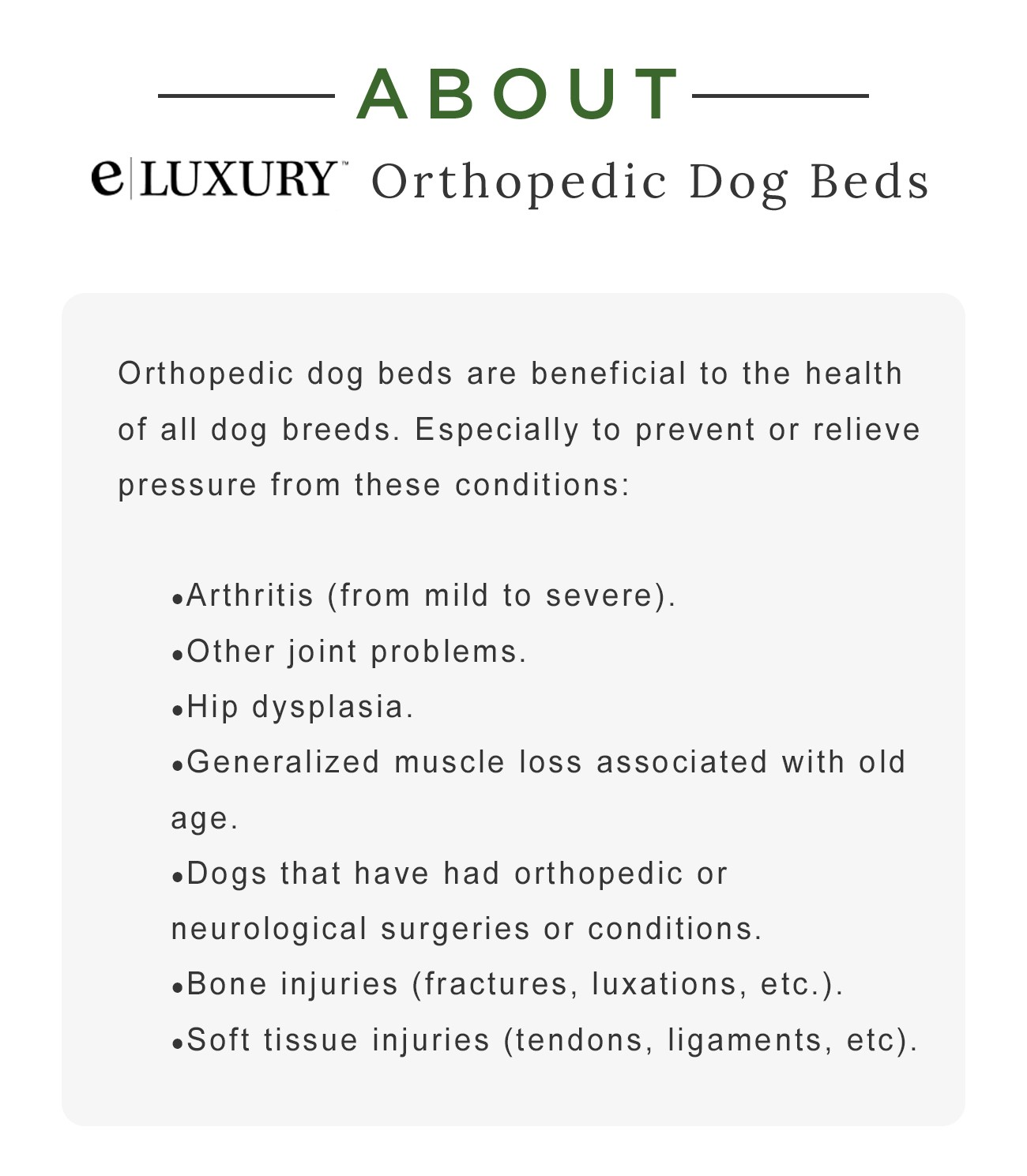 About e|Luxury Orthopedic Dog Beds - Orthopedic dog beds are beneficial to the health of all dog breeds