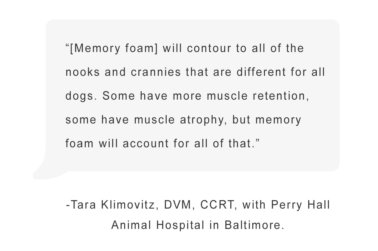 """""""Memory Foam will contour to all of the nook and crannies that are different for all dogs."""" - Tara Kilmovitz DVM"""