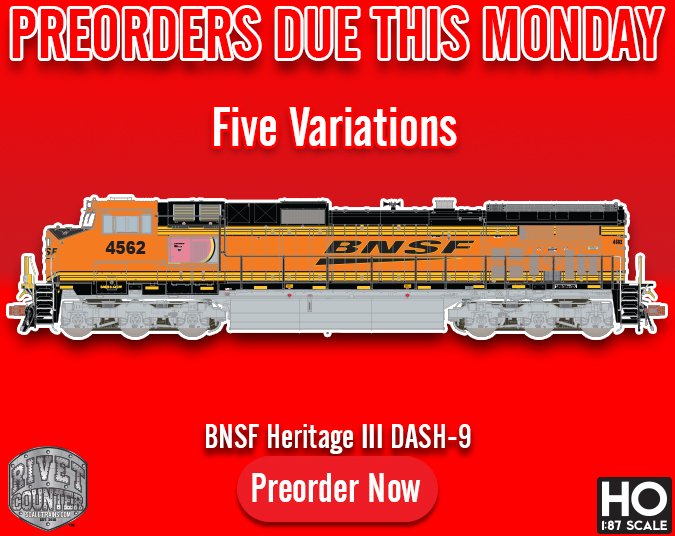 Preorders Due This Monday, August 12th: Rivet Counter HO Scale BNSF Heritage III C44-9W by ScaleTrains.com
