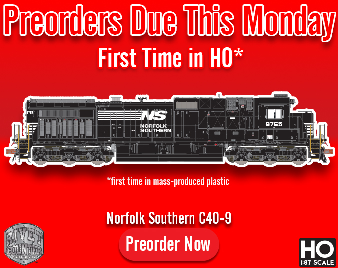 Preorders Due This Monday, August 12th: Rivet Counter HO Scale Norfolk Southern C40-9 by ScaleTrains.com
