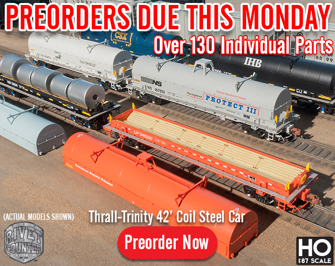 Preorders Due This Monday, August 12th: Rivet Counter HO Scale Thrall-Trinity 42' Coil Steel Car by ScaleTrains.com
