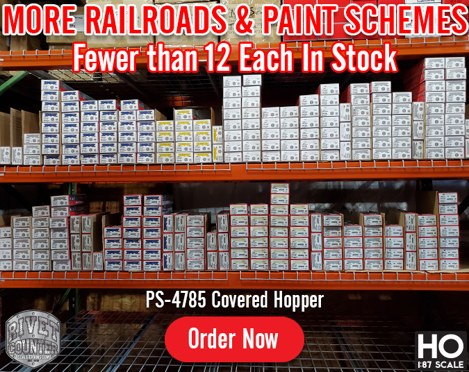 Fewer Than 12 Each In Stock: Rivet Counter HO Scale PS-4785 Covered Hoppers by ScaleTrains.com