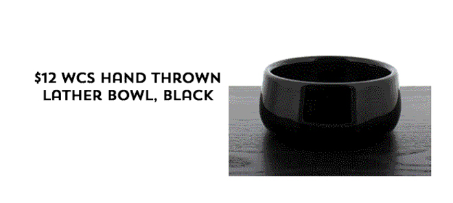 $12 WCS Hand Thrown Lather Bowl, Black