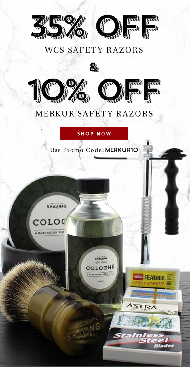 35% Off WCS Safety Razors & 10% Off Merkur Safety Razors | Use Code: MERKUR10 - Shop Now