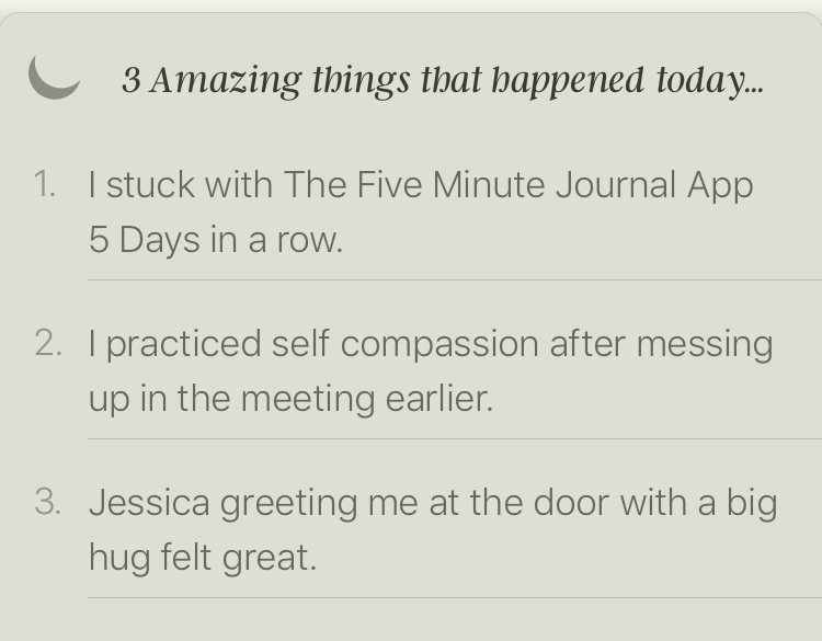 5 minute journal app amazing things