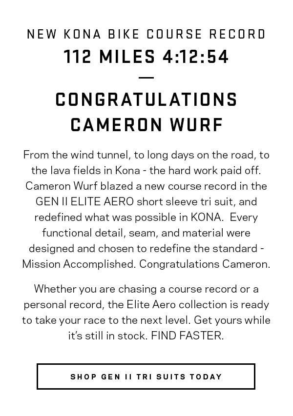 Congratulations Cameron Wurf.