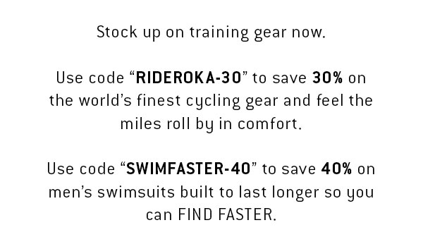 You've hit the saddle in ROKA Cycling gear, so you know what world-class feels like. For the next 24 hours, we're offering 30% off cycling apparel to say thanks to everyone that's given our gear a shot. Use Code RIDEROKA-30. Get it before it's gone! We'll be opening this offer to the public in 24 hours.