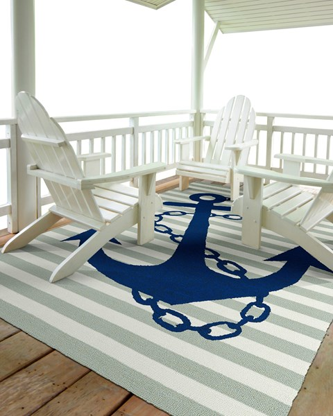 Grey and Navy Blue Anchor Rug