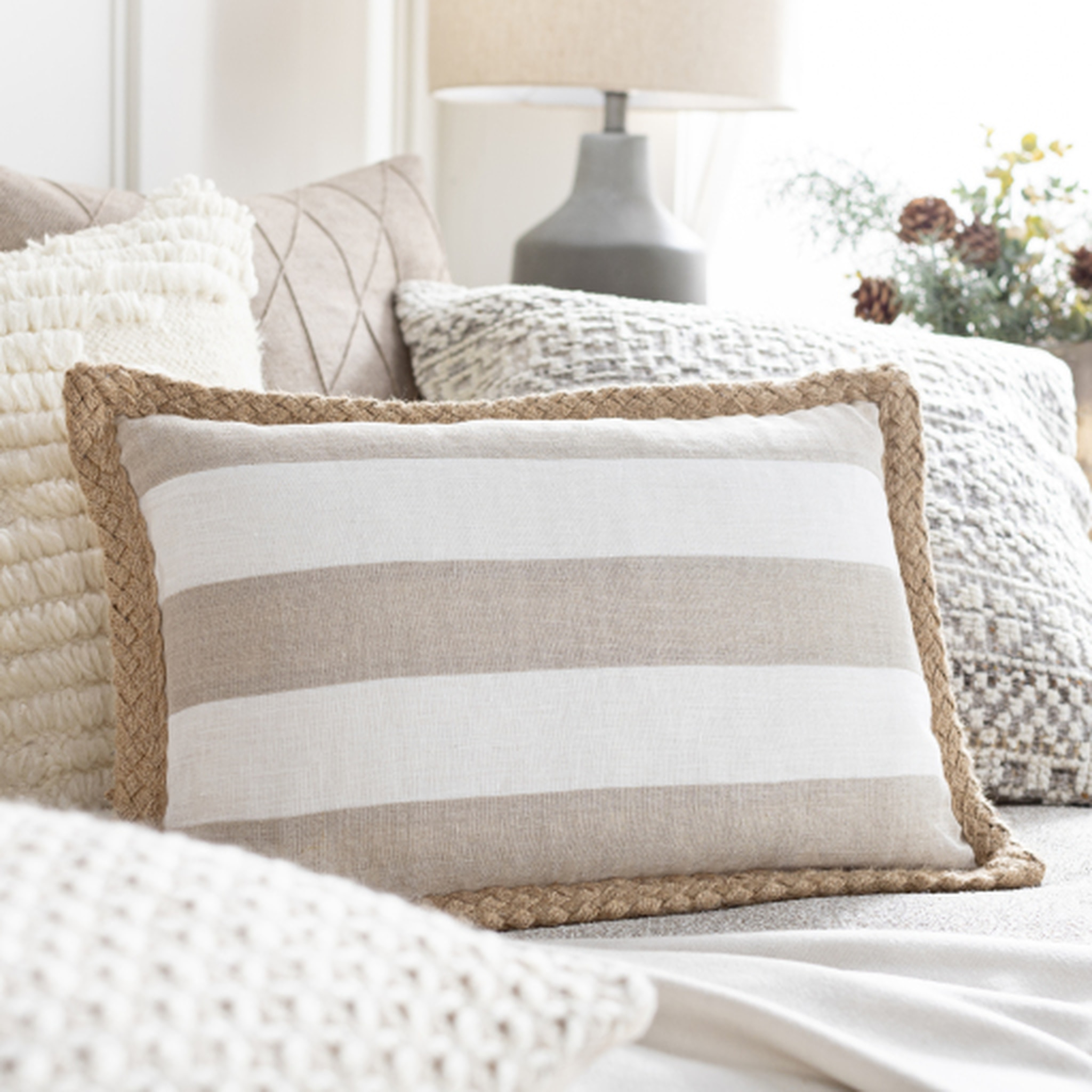 Taupe and Ivory Pillow Options